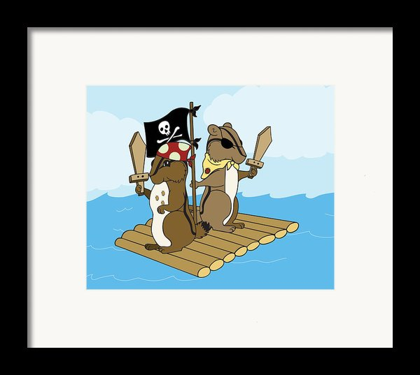 Chipmunk Pirate Dash And Scoot Framed Print By Christy Beckwith