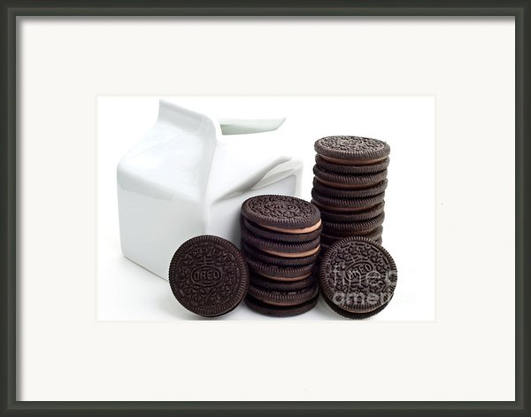 Chocolate Cream Oreos And Milk Framed Print By Andee Photography