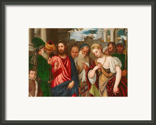 Christ And The Woman Taken In Adultery Framed Print By Veronese