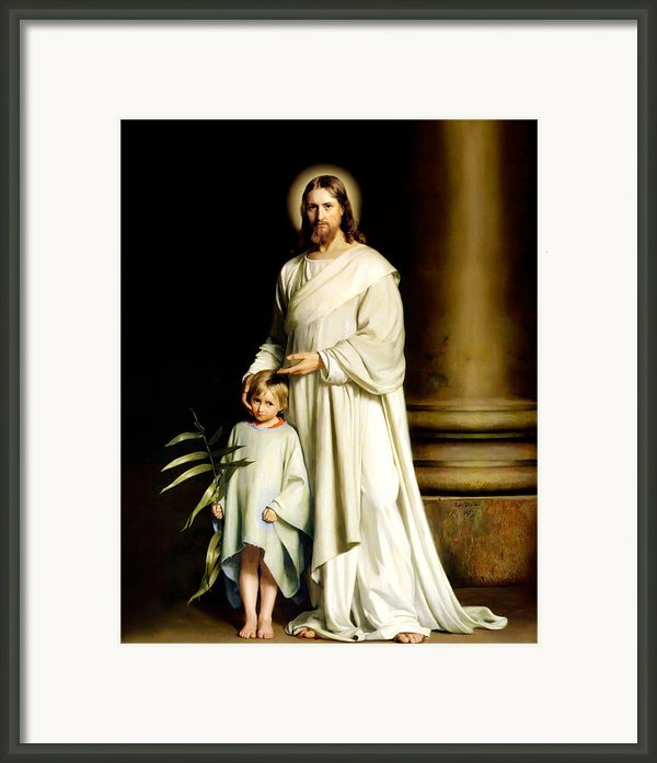 Christ And The Young Child Framed Print By Carl Bloch Print