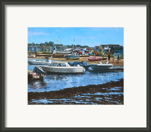 Christchurch Hengistbury Head Beach With Boats Framed Print By Martin Davey
