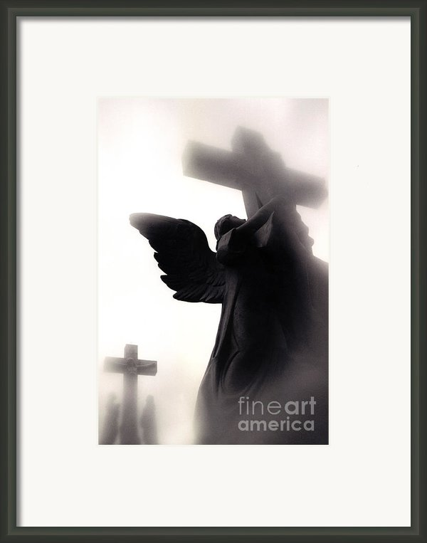 Christian Art Cross - Spiritual Angel On Cross  Framed Print By Kathy Fornal