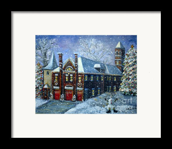 Christmas At The Fire House Framed Print By Rita Brown