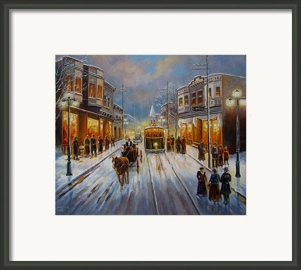 Christmas Atmosphere In A Small Town America In 1900 Framed Print By Gina Femrite