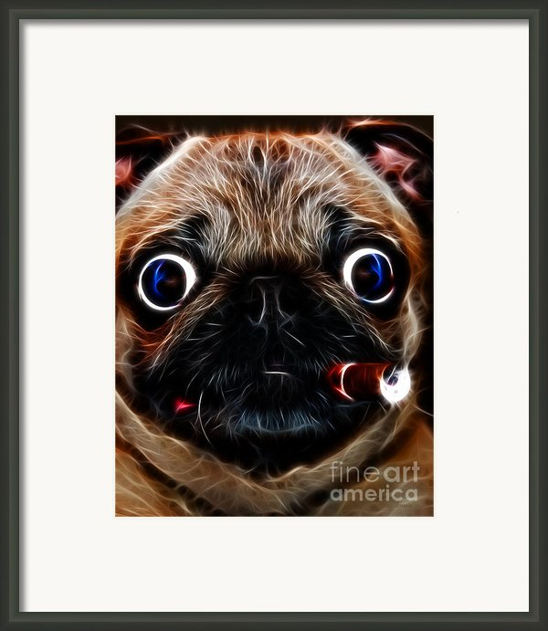 Cigar Puffing Pug - Electric Art Framed Print By Wingsdomain Art And Photography