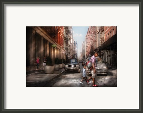 City - Ny - Walking Down Mercer Street Framed Print By Mike Savad