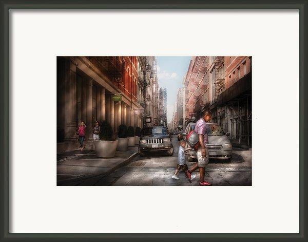 City - Ny - Walking Down Mercer Street Framed Print By Mike Savad