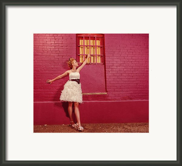 Classy Diva Standing In Front Of Pink Brick Wall  Framed Print By Kriss Russell
