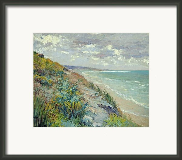 Cliffs By The Sea At Trouville  Framed Print By Gustave Caillebotte