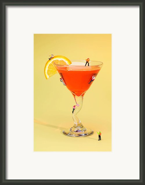 Climbing On Red Wine Cup Framed Print By Paul Ge
