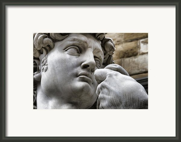 Close-up Face Statue Of David In Florence Framed Print By David Smith