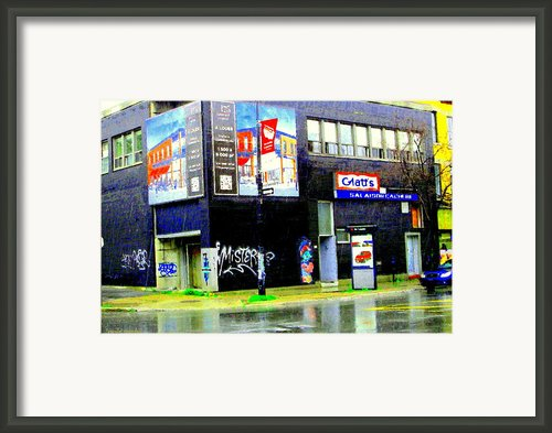 Closing Time Montreal Factory Glatts Produits Quebec Meats Graffiti Art City Scenes Carole Spandau Framed Print By Carole Spandau