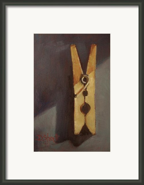 Clothes Pin In Grays Framed Print By Donna Shortt