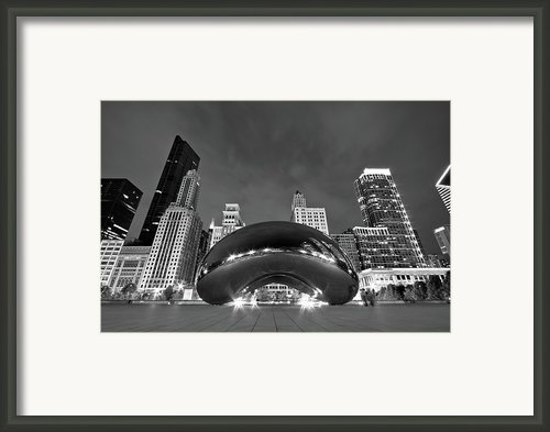 Cloud Gate And Skyline Framed Print By Adam Romanowicz