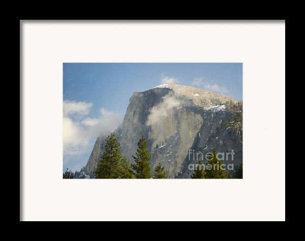 Clouds Around Half Dome  Framed Print By Jim And Emily Bush