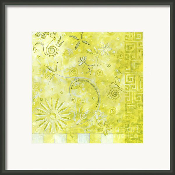 Coastal Decorative Citron Green Floral Greek Checkers Pattern Art Green Whimsy By Madart Framed Print By Megan Duncanson