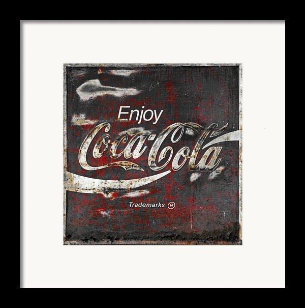 Coca Cola Grunge Sign Framed Print By John Stephens