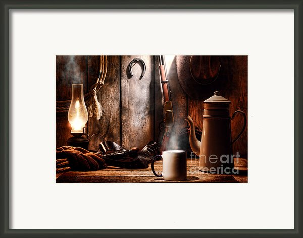 Coffee At The Cabin Framed Print By Olivier Le Queinec