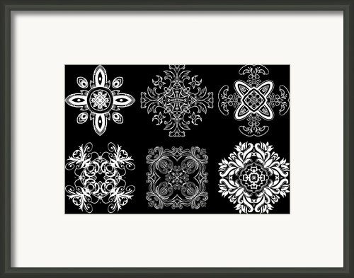 Coffee Flowers Ornate Medallions Bw 6 Peice Collage Framed Print By Angelina Vick