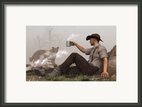 Coffee With A Cougar Framed Print By Daniel Eskridge