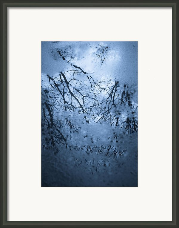 Cold Reflection - Abstract Blues Framed Print By Gary Heller