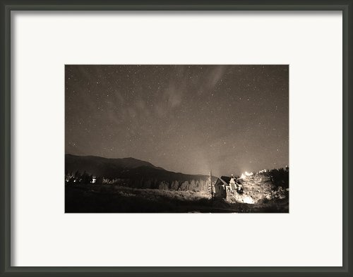 Colorado Chapel On The Rock Dreamy Night Sepia Sky Framed Print By James Bo Insogna