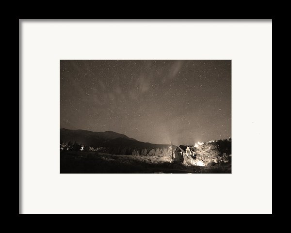 Colorado Chapel On The Rock Dreamy Night Sepia Sky Framed Print By James Bo  Insogna