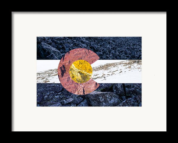 Colorado State Flag With Mountain Textures Framed Print By Aaron Spong