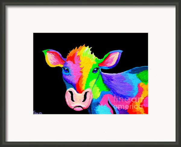 Colorful Cow-cow-a-bunga Framed Print By Nick Gustafson