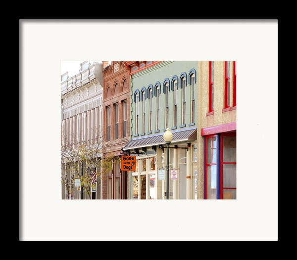Colorful Shops Quaint Street Scene Framed Print By Ann Powell