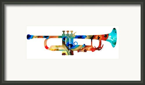 Colorful Trumpet Art By Sharon Cummings Framed Print By Sharon Cummings