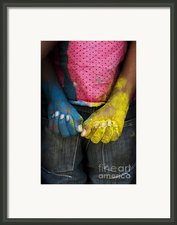 Coloured Hands Framed Print By Tim Gainey