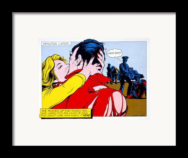 Comic Strip Kiss Framed Print By Mgl Studio