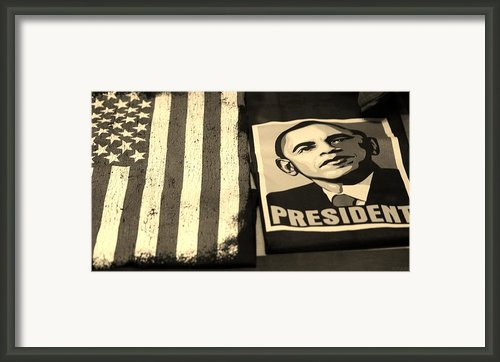 Commercialization Of The President Of The United States In Sepia Framed Print By Rob Hans