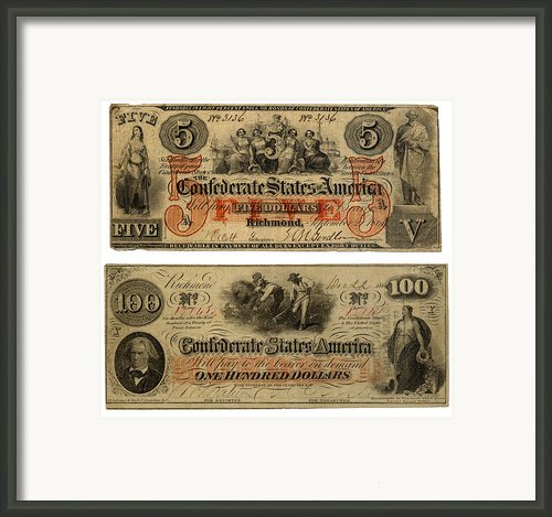 Confederate Money Framed Print By Currency