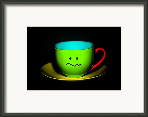 Confused Colorful Cup And Saucer Framed Print By Natalie Kinnear
