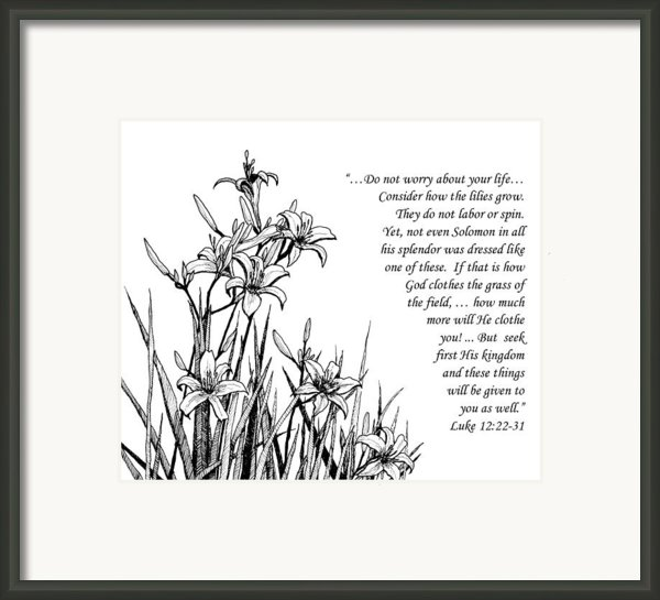 Consider How The Lilies Grow Framed Print By Janet King