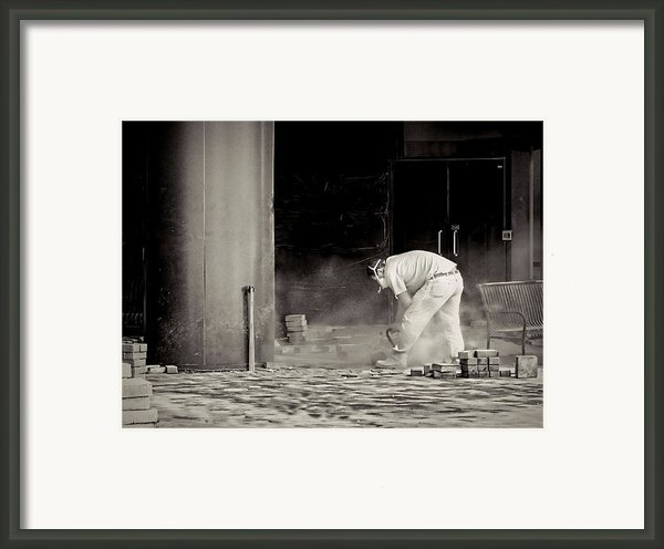 Construction Worker Bw Framed Print By Rudy Umans