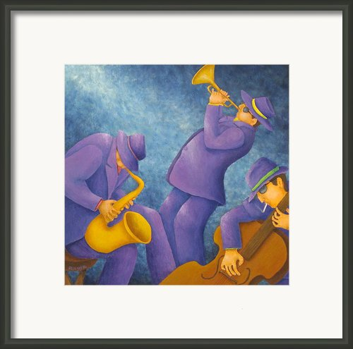 Cool Jazz Trio Framed Print By Pamela Allegretto