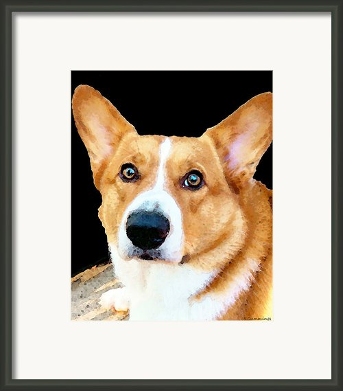Corgi Art - Pensive  Framed Print By Sharon Cummings