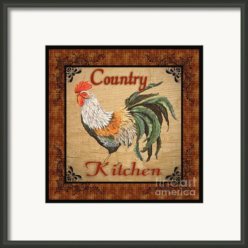 Country Kitchen Rooster Framed Print By Jean Plout