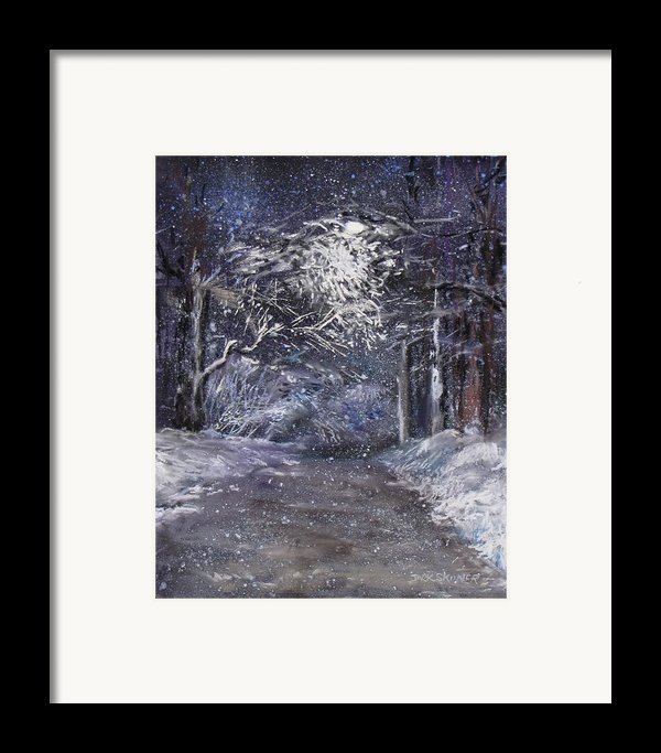 Country Road On A Wintery Night Framed Print By Jack Skinner