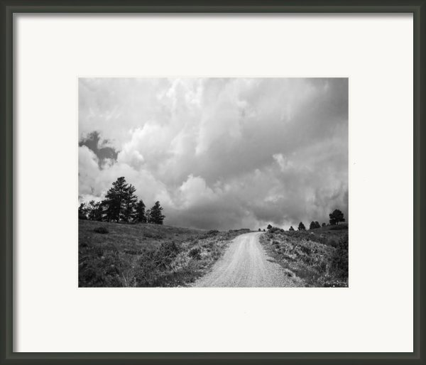 Country Road With Stormy Sky In Black And White Framed Print By Julie Magers Soulen