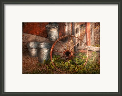 Country - Some Dented Pails And An Old Wheel  Framed Print By Mike Savad
