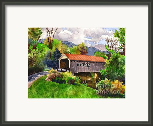 Covered Barn With Red Roof Framed Print By Anne Gifford