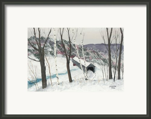 Covered Bridge Framed Print By George Burr