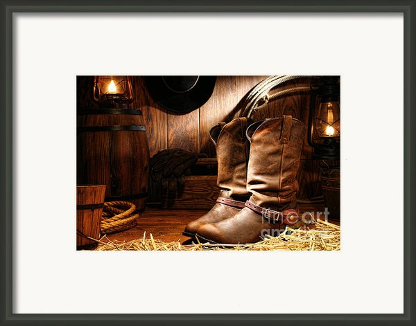 Cowboy Boots In A Ranch Barn Framed Print By Olivier Le Queinec