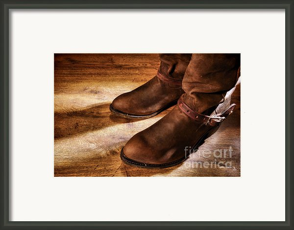 Cowboy Boots On Saloon Floor Framed Print By Olivier Le Queinec