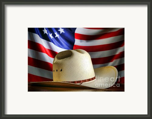 Cowboy Hat And American Flag Framed Print By Olivier Le Queinec