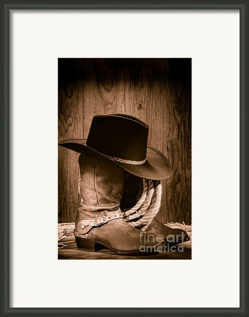 Cowboy Hat And Boots Framed Print By Olivier Le Queinec